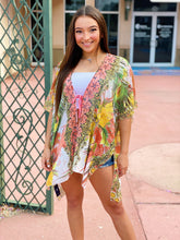 Load image into Gallery viewer, Tropical Tie Front Kimono - One Size