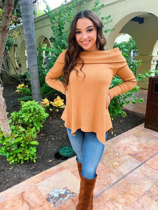 All Fall Feels In Mustard - Sweater Blouse