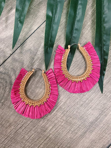 Ready for Summer - Hot Pink Latch Back Earrings