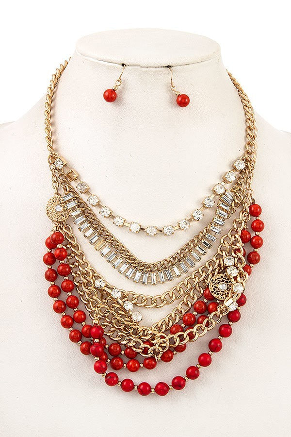 Coral Multi Row Chain Necklace