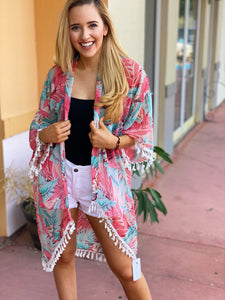 Tropical In Pink With Tassels - One Size