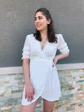 Load image into Gallery viewer, Wrap Her Up - Ruffled Off White Dress