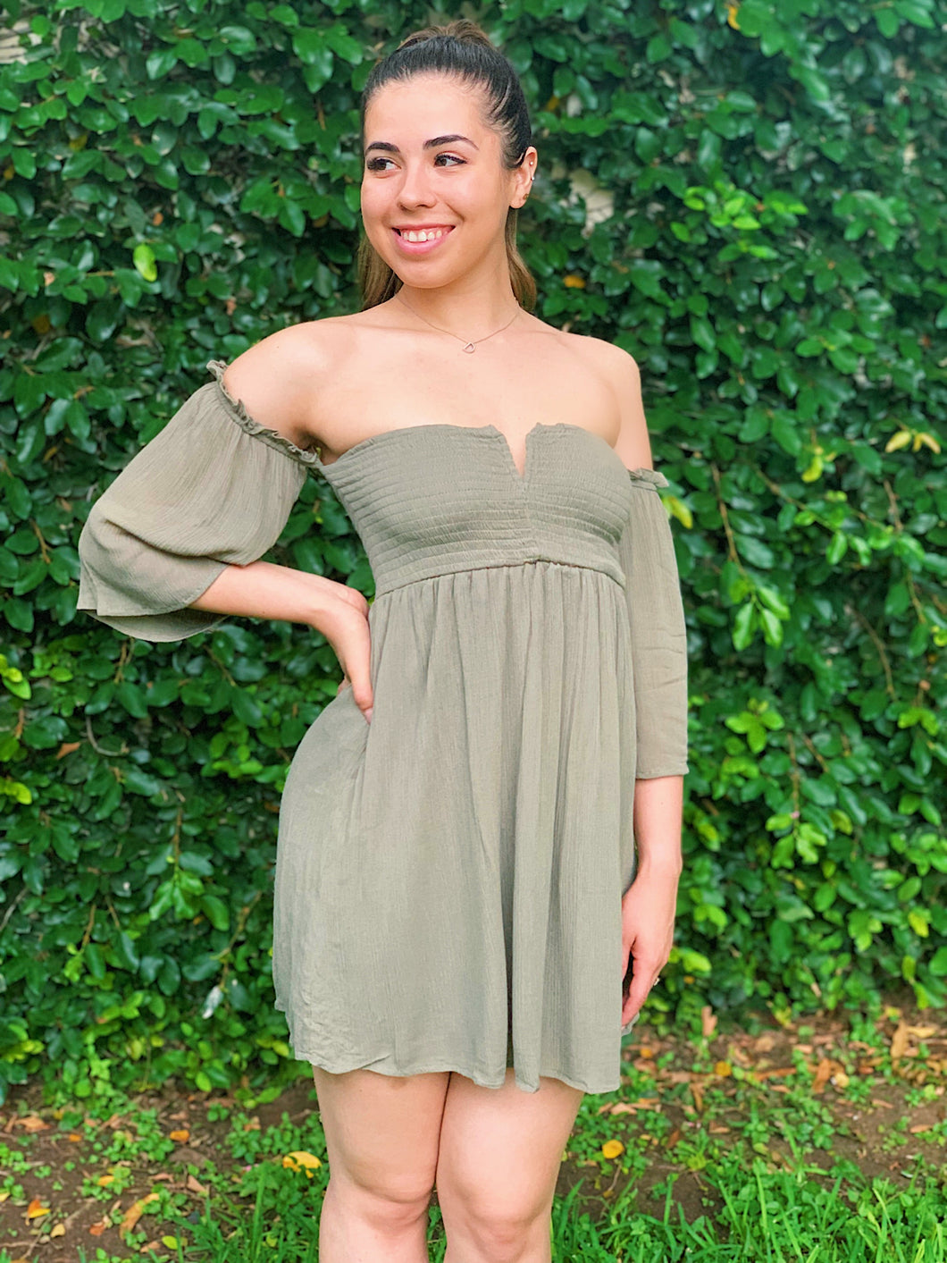 With The Flow Olive Green Dress