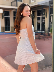 Strapless Sweetheart Polka Dot Dress