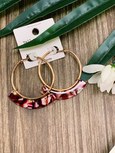Gold Hoop With Red Acrylic Accent