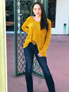 Mustard Chenille V Neck Sweater Top