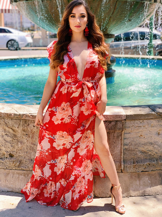 Dreamy Thoughts Red Floral Dress