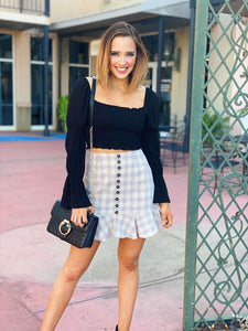 As If - Plaid Ruffled Mini Skirt