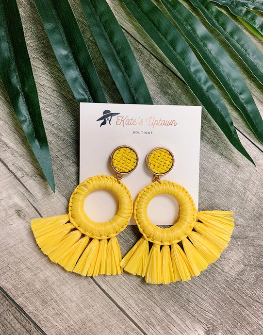 At The Beach - Yellow Earrings