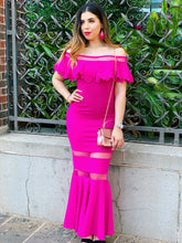 Load image into Gallery viewer, Ruffle It Up In Fuschia Maxi Dress