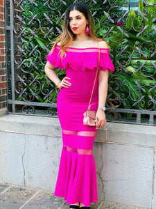 Ruffle It Up In Fuschia Maxi Dress