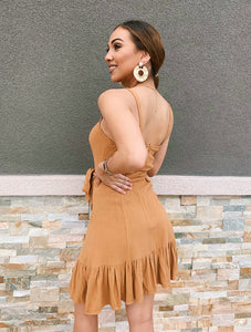 Ruffled in Camel - Dress