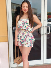 Load image into Gallery viewer, Off White Floral Tube Top Romper