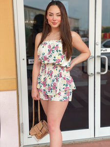 Off White Floral Tube Top Romper