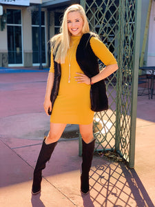 Mustard Bodycon & Mock Neck Dress