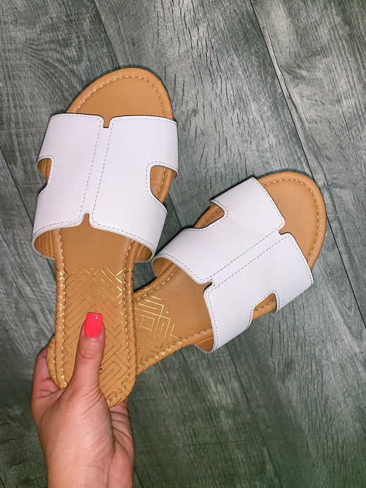 White Arch Slide In Sandal