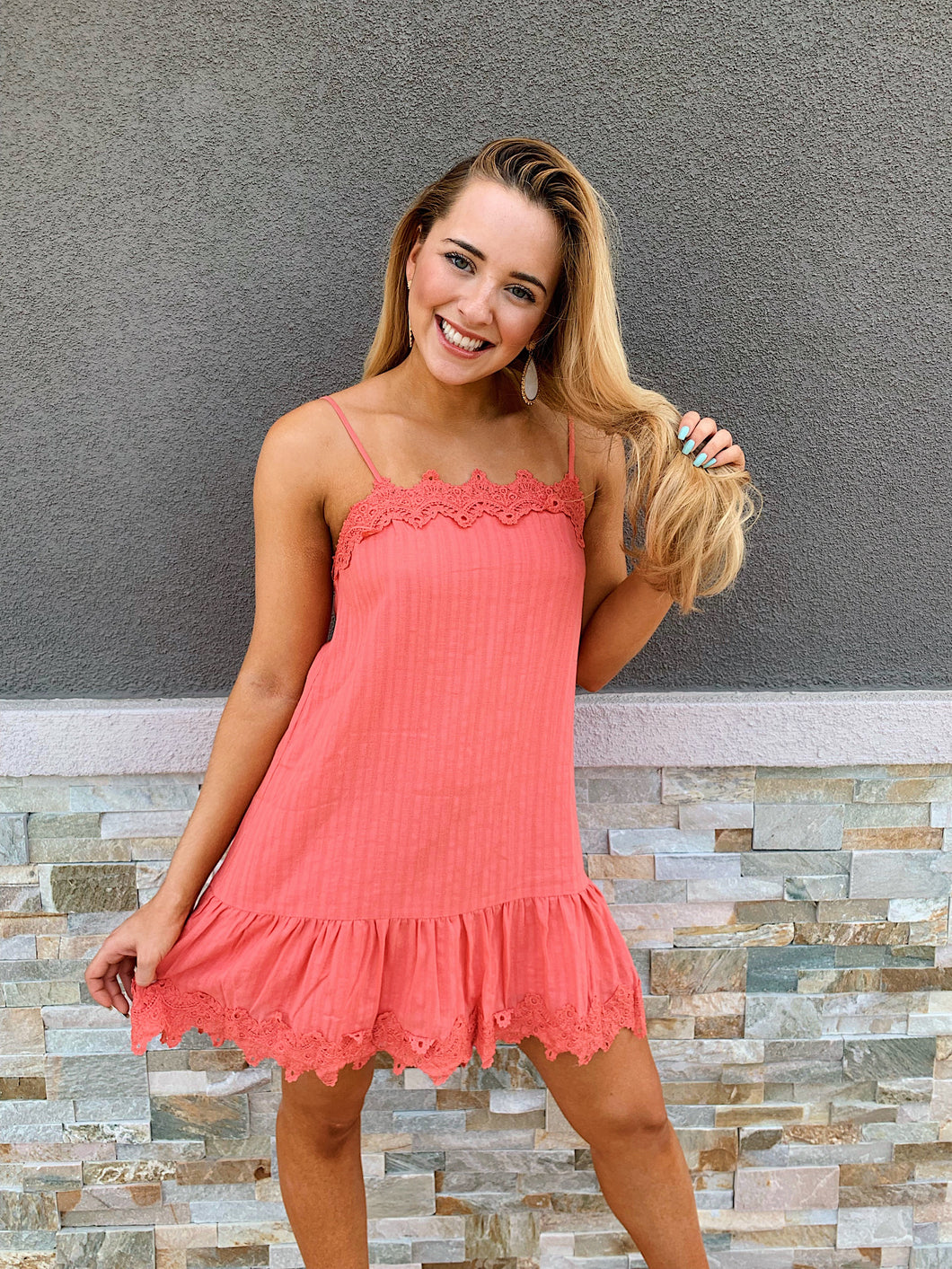 Coral Obsessed -Dress