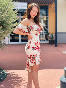Ivory Floral Midi Ruffle Dress