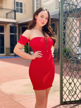 Load image into Gallery viewer, Not Your Average Red Dress - Off The Shoulder
