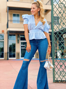 Satin & Puff Sleeves In Sky Blue - Blouse
