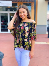 Load image into Gallery viewer, Floral In Black Off The Shoulder Top