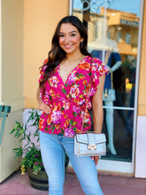 Load image into Gallery viewer, Fuchsia & Floral - V Neck Blouse