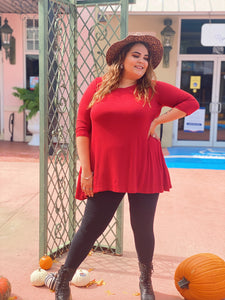 Rust 3/4 Sleeve Tunic Top (Plus)