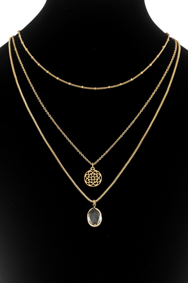 Gold Layered Crystal Pendant Necklace