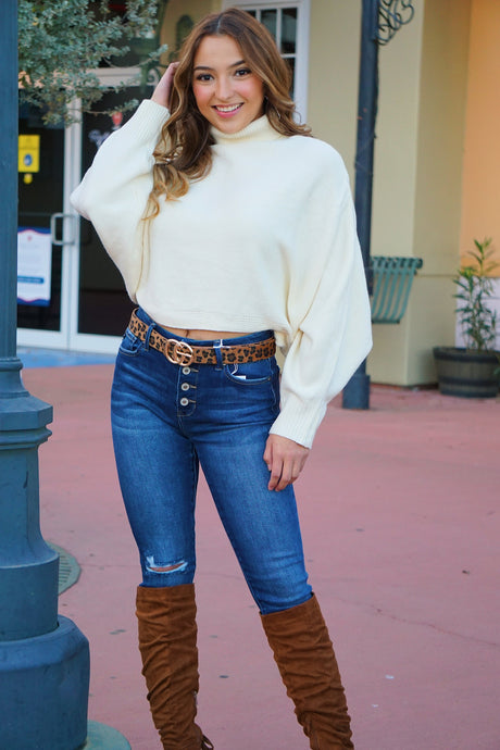 Nice to Meet You - Ivory Crop Sweater