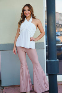 Uptown Girl - Blush Flare Pants