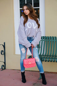 LOVE ME - Grey Oversized Sweater
