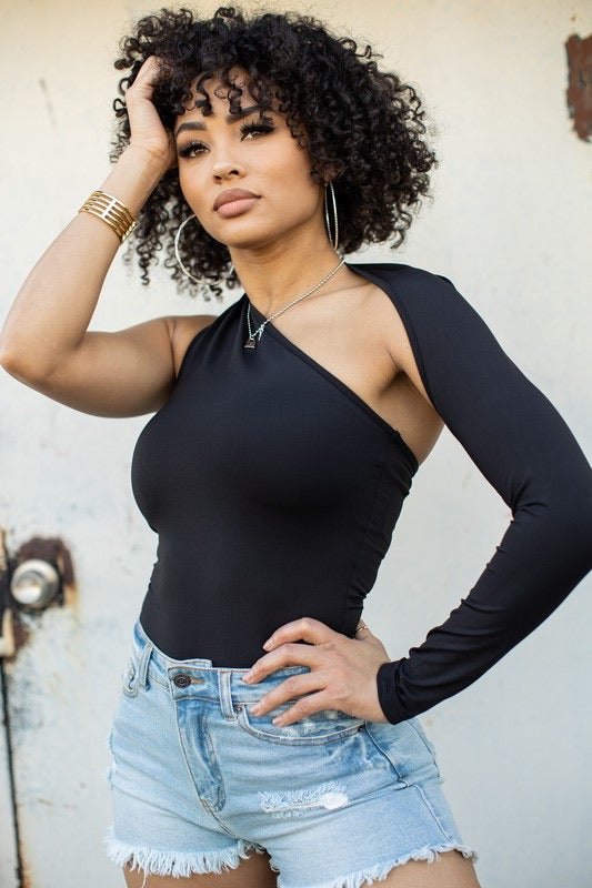 One-Sleeve Black Bodysuit