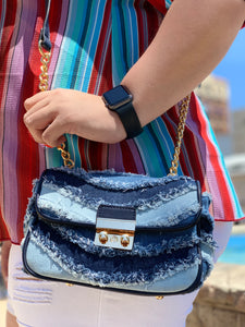Denim Distressed Cross Body