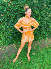 Load image into Gallery viewer, Orange Stripe Down Romper