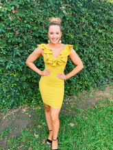 Load image into Gallery viewer, Ruffled Up Mustard - Bodycon Dress