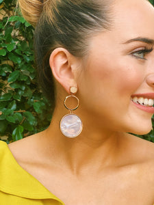 Marbled Round Stone Earrings