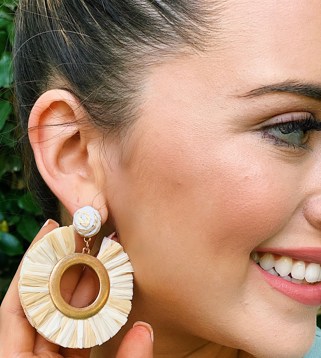 Light-Weight Raffia Circle Earrings