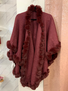 Burgundy Cape Faux Fur