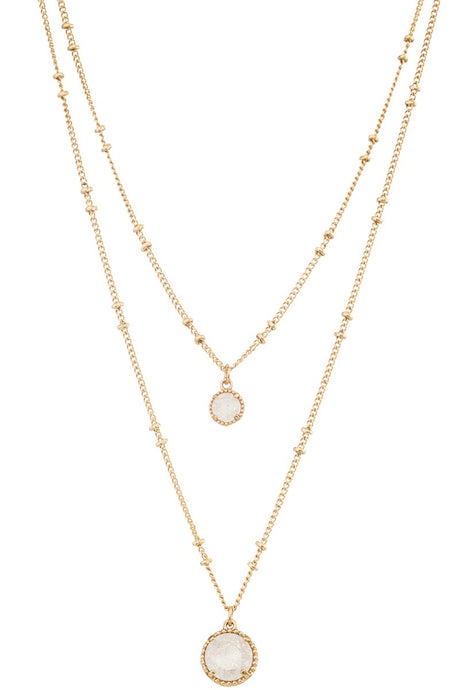 Layered Gold Round Pendant Necklace