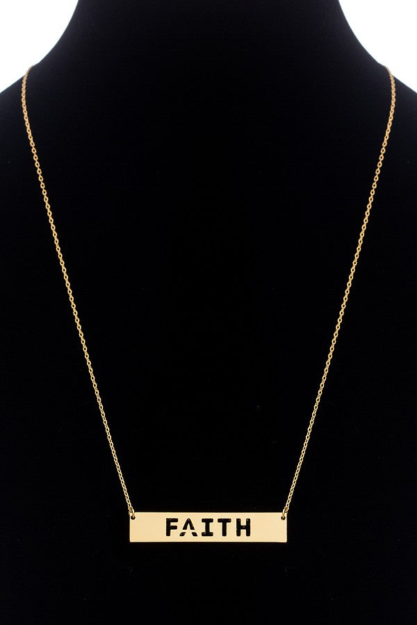 Faith Pendant Necklace - Gold