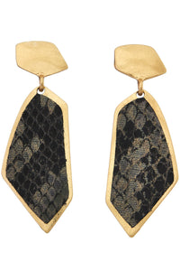 Snake Print Geometric Earrings