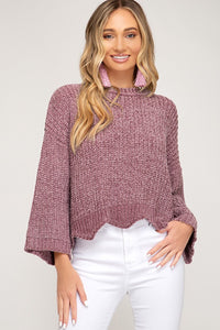 Scalloped In Mauve 3/4 Sleeve Sweater
