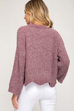 Load image into Gallery viewer, Scalloped In Mauve 3/4 Sleeve Sweater