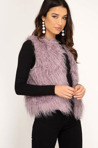 Misty Mauve Short Faux Vest
