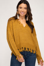 Load image into Gallery viewer, Forever Distressed Mustard Sweater