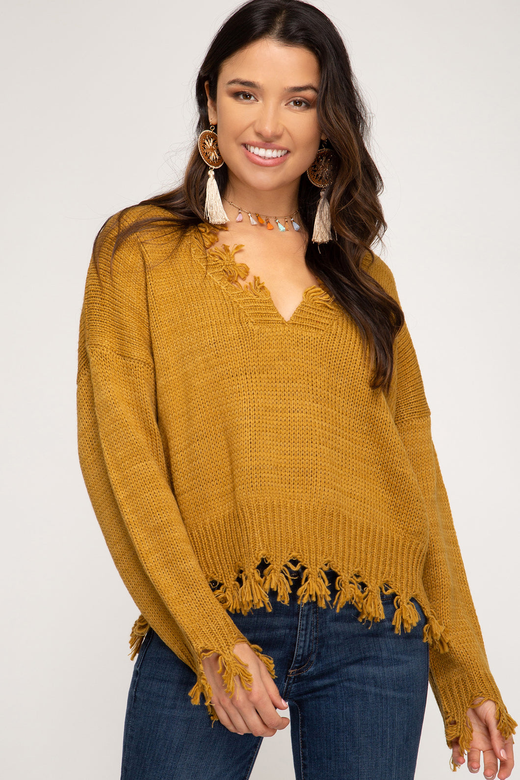Forever Distressed Mustard Sweater