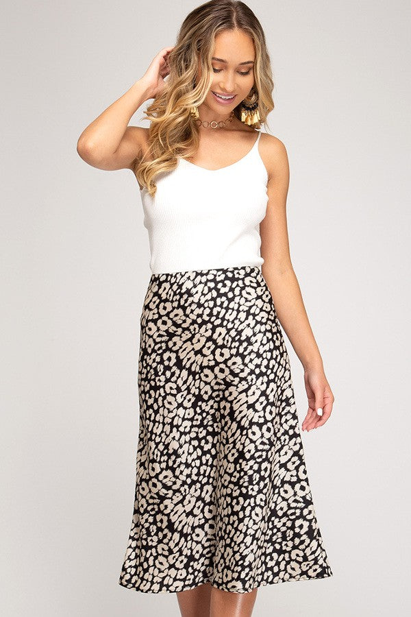 Satin & Leopard Midi Skirt