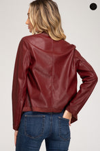 Load image into Gallery viewer, Cascade Wine Faux Leather Jacket