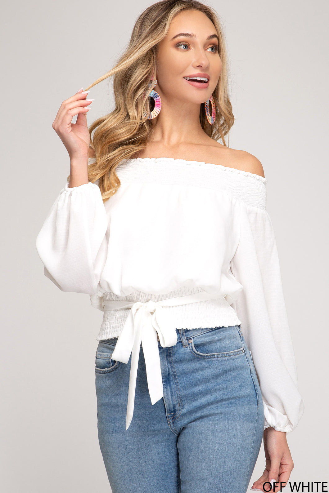 Off White Off The Shoulder Top