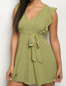 Sleeveless Ruffled Shoulder Olive Mini Dress